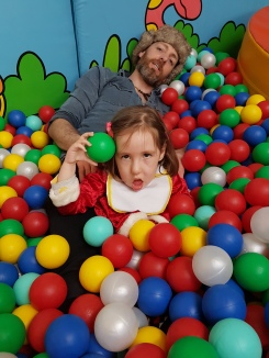 Iain and Rosie in ball pit