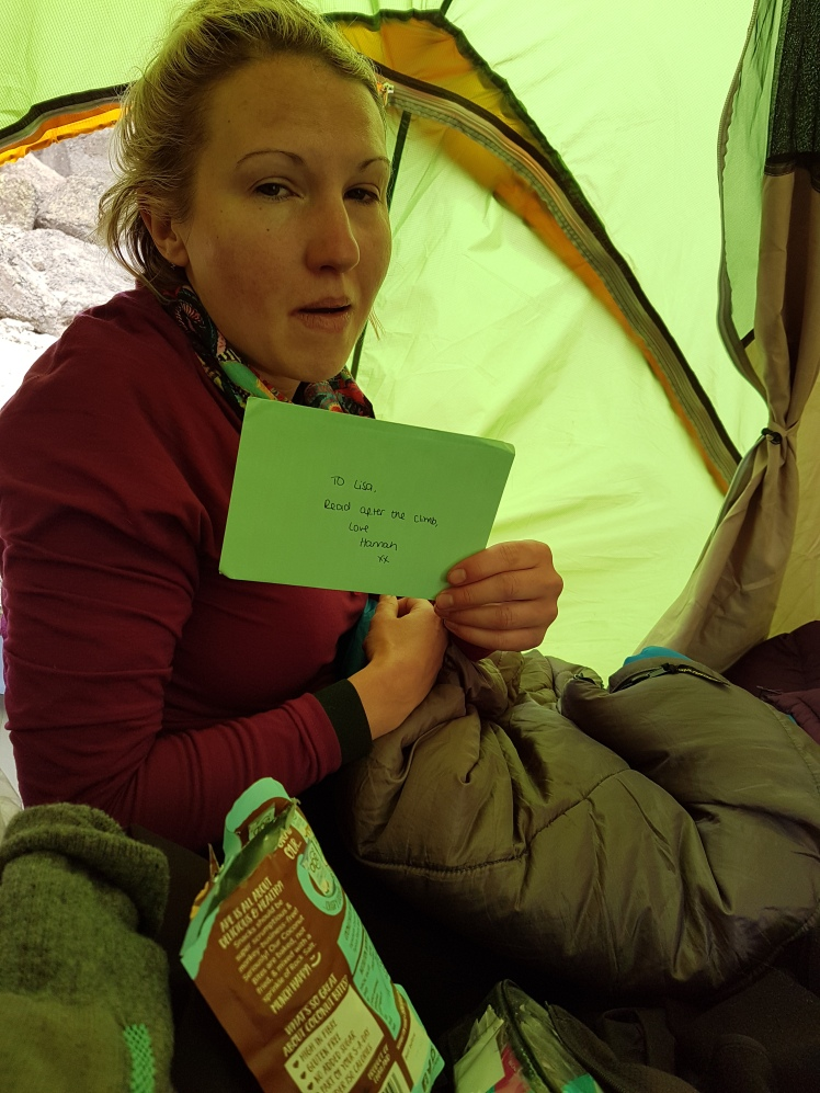 Arriving back at the tent and card from Hannah