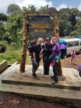 Gemma, Debs and I posing with the Bon Voyage sign
