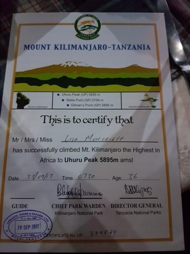 My Mt Kilimanjaro certificate