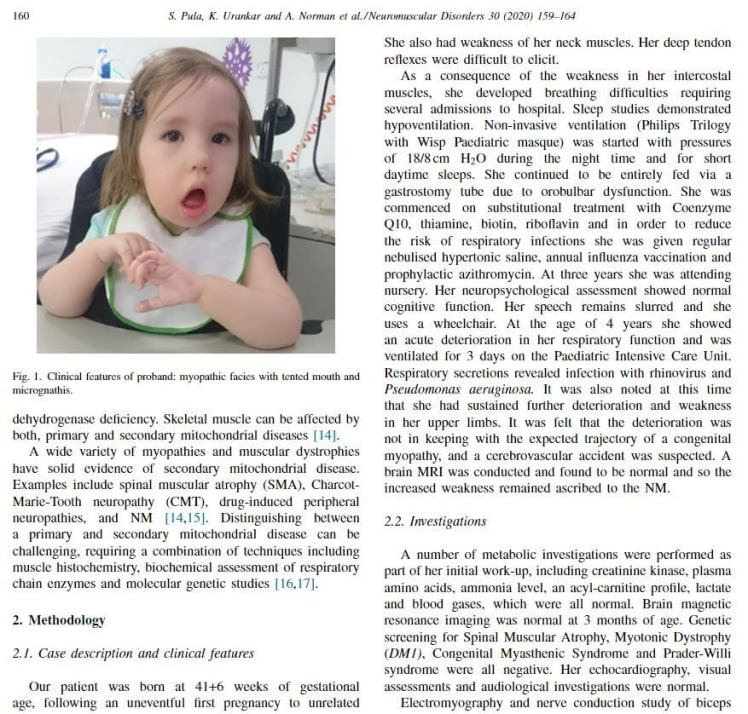 Extract of Rosie's case report in a neuromuscular disorder journal