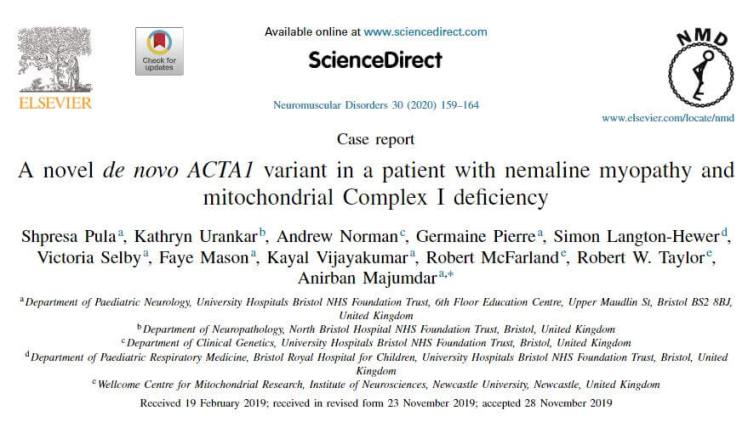 Title of the medical journal featuring nemaline myopathy and complex 1 deficiency